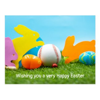 Baseball with Easter eggs for Easter Holiday Postcard