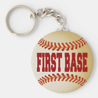 Baseball with First Base Text Basic Round Button Keychain