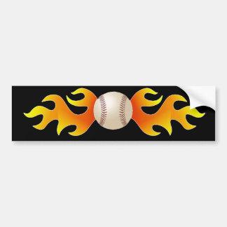 Baseball with Flames Bumper Sticker