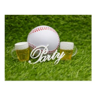 Baseball with glasses of beer for party postcard
