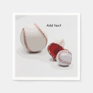 Baseball  with glove are on white background napkins