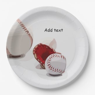 Baseball  with glove are on white background paper plate