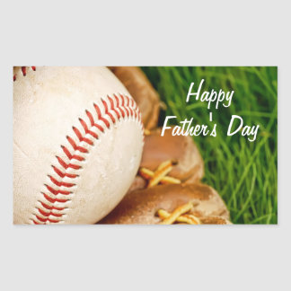 Baseball with Glove Happy Father's Day Rectangular Sticker