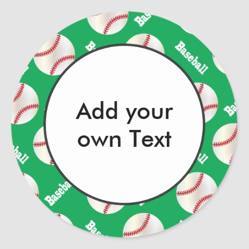 Baseball with Green Background  Personalize Classic Round Sticker