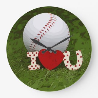 Baseball with I love you on green grass Large Clock
