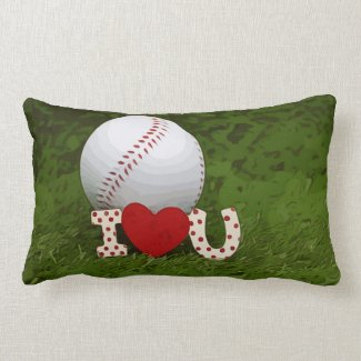 Baseball with I love you with red heart on green Lumbar Pillow