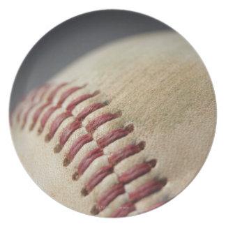 Baseball with impact mark. plate