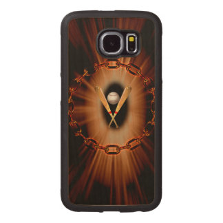 Baseball with light effects wood phone case
