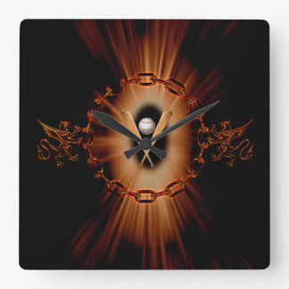 Baseball with lion and light effects square wall clock