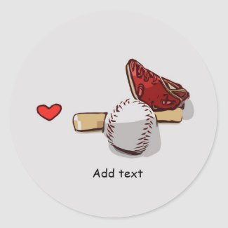 Baseball  with love are on white background classic round sticker