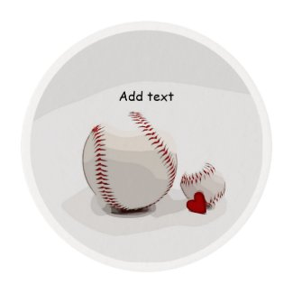 Baseball  with love are on white background edible frosting rounds