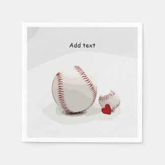 Baseball  with love are on white background napkins