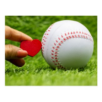 Baseball with  love red hearts for Wedding Postcard