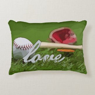 Baseball with love word on green grass accent pillow