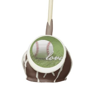 Baseball with love word on green grass cake pops