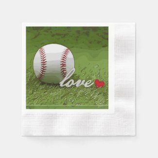 Baseball with love word on green grass napkins