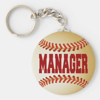 Baseball with Manager Text Keychain