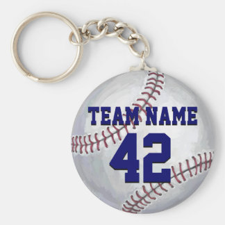 Baseball with Name and Number Basic Round Button Keychain