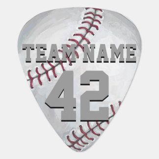 Baseball with Name and Number Guitar Pick