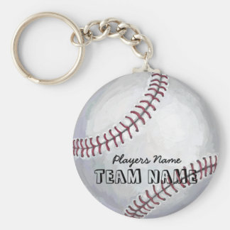 Baseball with Name and Number Keychain