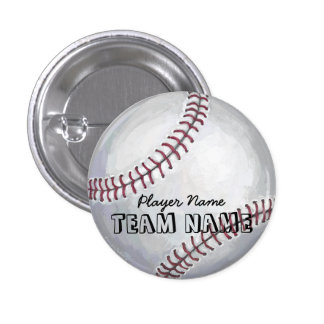 Baseball with Name and Number Pinback Button