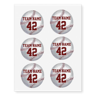 Baseball with Name and Number Temporary Tattoos