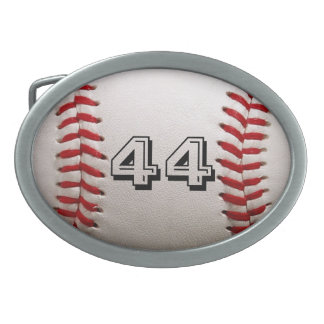 Baseball with Personalized Number Oval Belt Buckles