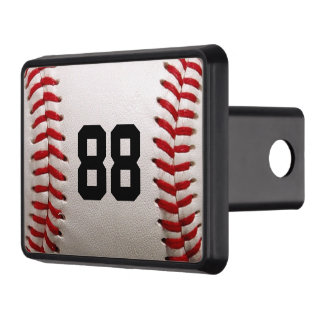 Baseball with personalized Number Hitch Cover