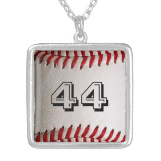 Baseball with Personalized Number Square Pendant Necklace
