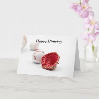 Baseball with red heart are on white background card