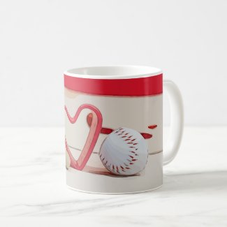 Baseball with red heart on red background coffee mug