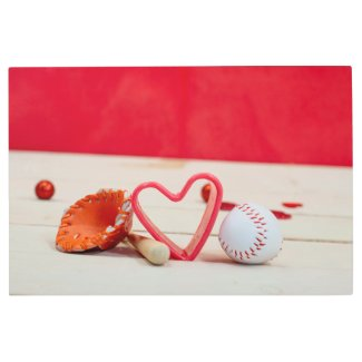 Baseball with red heart shape with glove and bat metal print