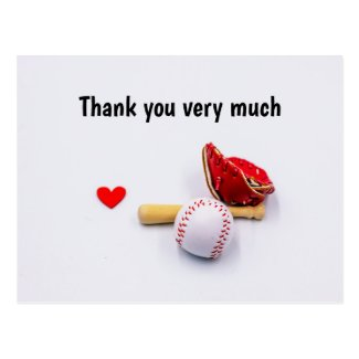 Baseball with red heart thank you postcard