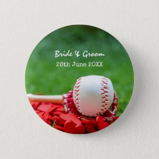 Baseball with red hearts on green grass button