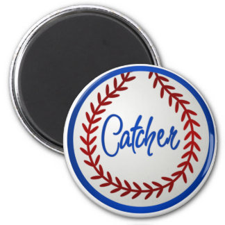 Baseball With Red Stitches and Catcher 2 Inch Round Magnet