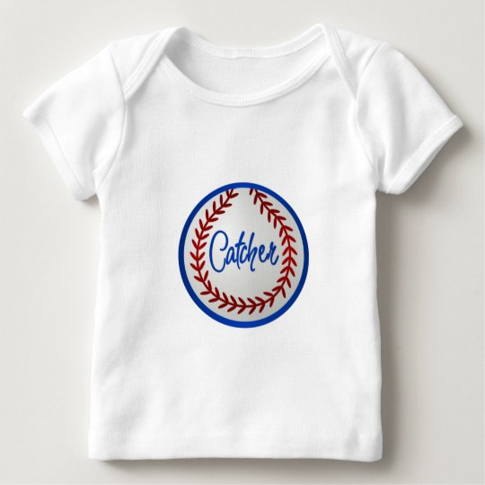 Baseball With Red Stitches and Catcher Baby T-Shirt