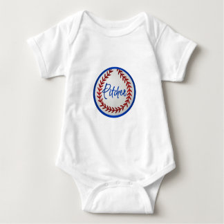 Baseball With Red Stitches and Pitcher Baby Bodysuit