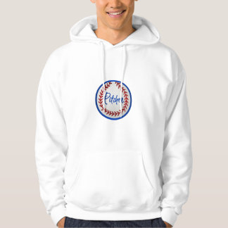 Baseball With Red Stitches and Pitcher Hoodie