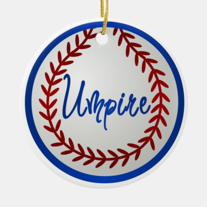 Baseball With Red Stitches and Umpire Ceramic Ornament