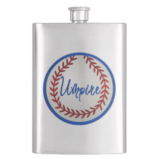 Baseball With Red Stitches and Umpire Flask