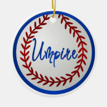 Baseball With Red Stitches and Umpire Christmas Tree Ornaments