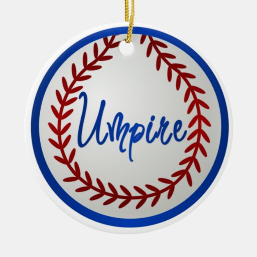 Baseball With Red Stitches and Umpire Double-Sided Ceramic Round Christmas Ornament