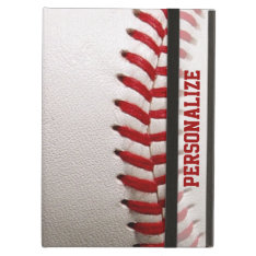 Baseball With Red Stitching And Personalized Name Ipad Air Cover at Zazzle