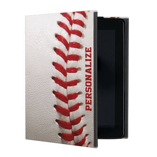 Baseball with Red Stitching and Personalized Name iPad Case