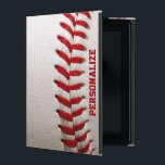 "Baseball with Red Stitching and Personalized Name iPad Cover<br><div class=""desc"">Baseball with Red Stitching and Personalized Name.  A macro photograph of a brand new Baseball with red stitching.  Perfect gift for the baseball freak or sports fanatic.</div>"