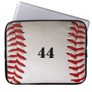 Baseball with red stitching with number computer sleeve