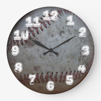 Baseball With White Numbers Wall Clock