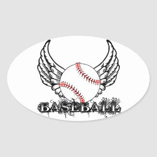 Baseball with Wings Oval Sticker