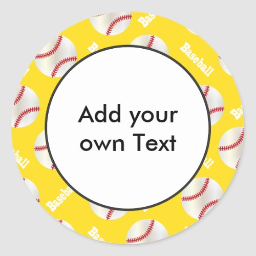 Baseball with Yellow Background  Personalize Classic Round Sticker