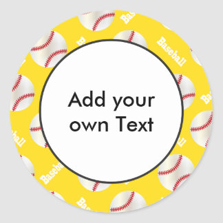 Baseball with Yellow Background | Personalize Classic Round Sticker